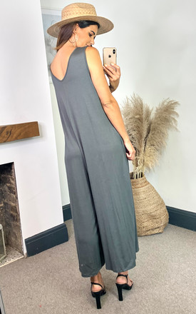Relaxed Sleeveless Jumpsuit in Grey by HOXTON GAL