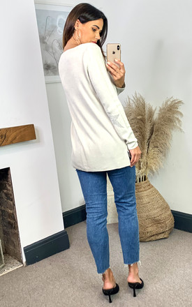 Oversized Long Sleeves Relaxed Star Jumper in Cream by HOXTON GAL