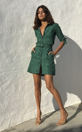 Jonah Mini Shirt Dress In Small Green Leopard by Dancing Leopard Product photo