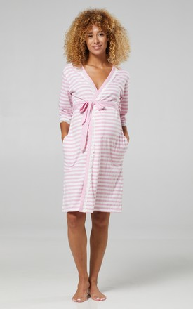 Women's Maternity Night Robe Tied Waist Dressing Gown Powder Pink by Chelsea Clark