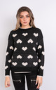 Love Heart Print Comfy Jumper (BLACK) by Lucy Sparks