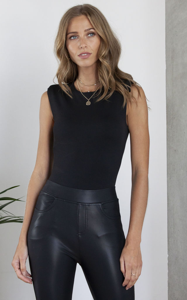 Padded Shoulder Bodysuit in Black by Hey You London