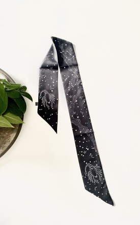 Zodiac Scorpio silk scarf in black and white by Kate Coleman