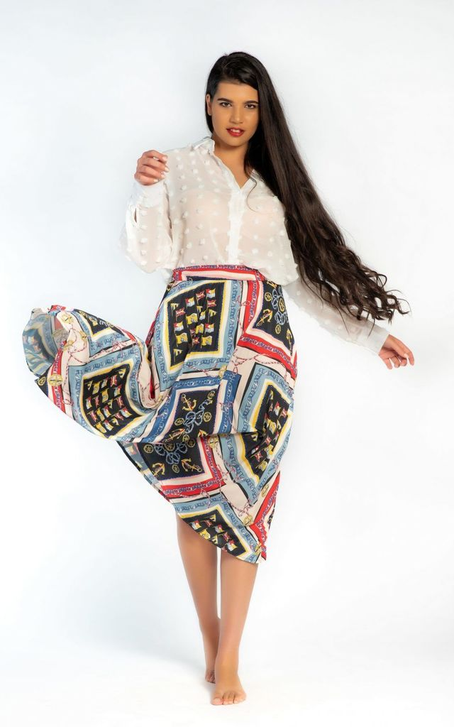 Pleated Skirt in Chain Print by Velvet