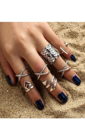 Silver Cross band Ring set (8 pack) by GIGILAND