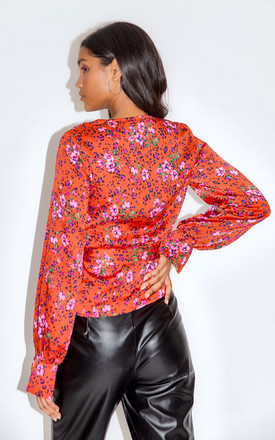 Liquorish Red Floral and Leopard Print Wrap Top by Liquorish