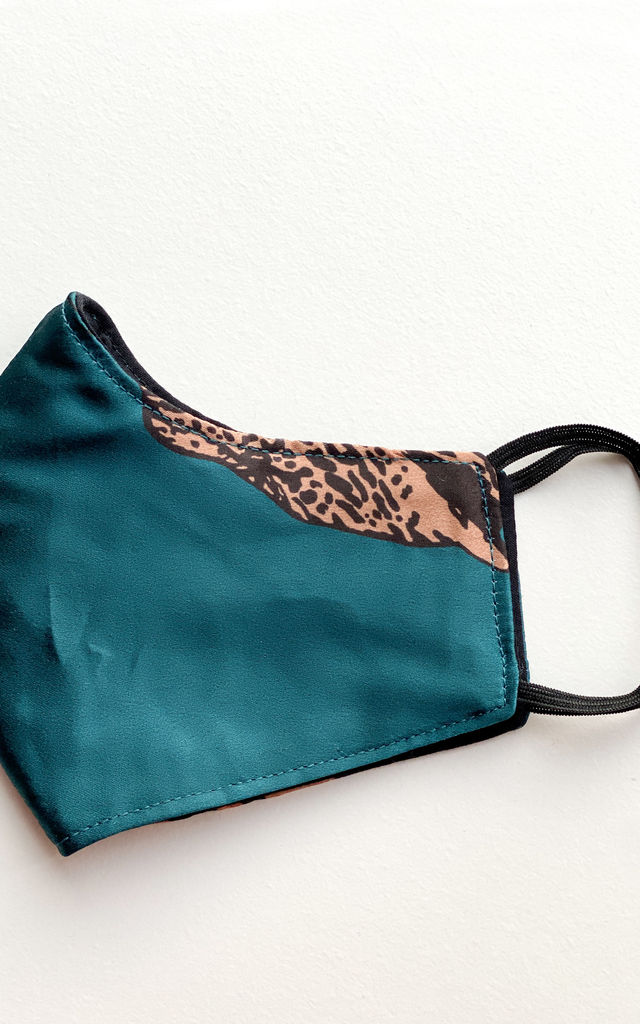 Face Mask Three Layers Reusable Pack of Two Teal Leopard Print & Black Satin by FreeSpirits