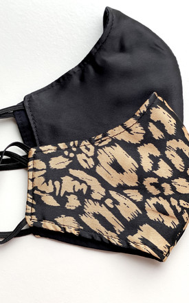 Face Mask Leopard Print & Black Satin-Three Layers Reusable Pack of Two by FreeSpirits