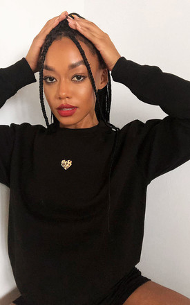 Jumper in Black with Leopard Heart by LimeBlonde
