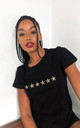 Star Print Loungewear T-shirt in Black with Leopard Print Stars by LimeBlonde