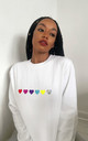 Jumper in White with Rainbow Glitter Hearts by Lime Blonde