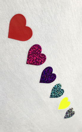 Jumper in White with Rainbow Glitter Hearts by LimeBlonde