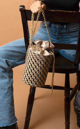 Black And Natural Sierra Macuira Straw Bucket Bag by Washein