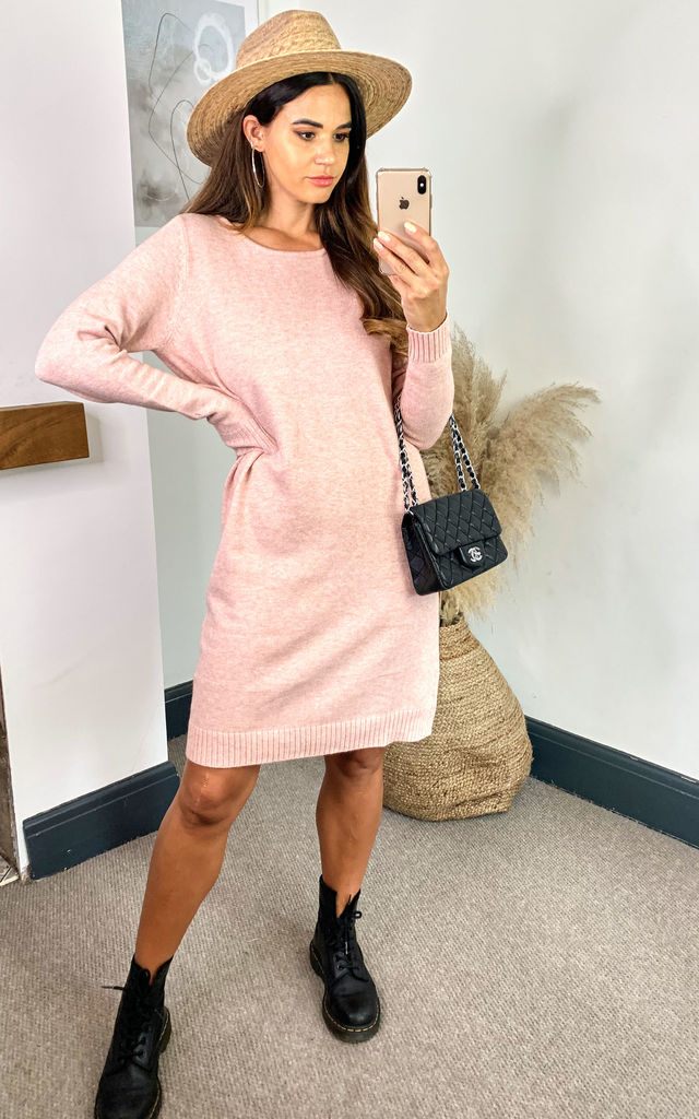 Jumper Dress with Round Neck in Pink by VILA