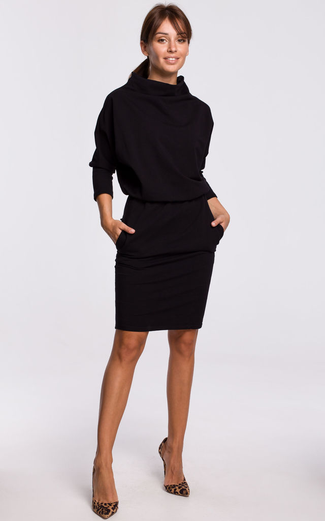 Mini Dress with Kimono Sleeve in Black by MOE