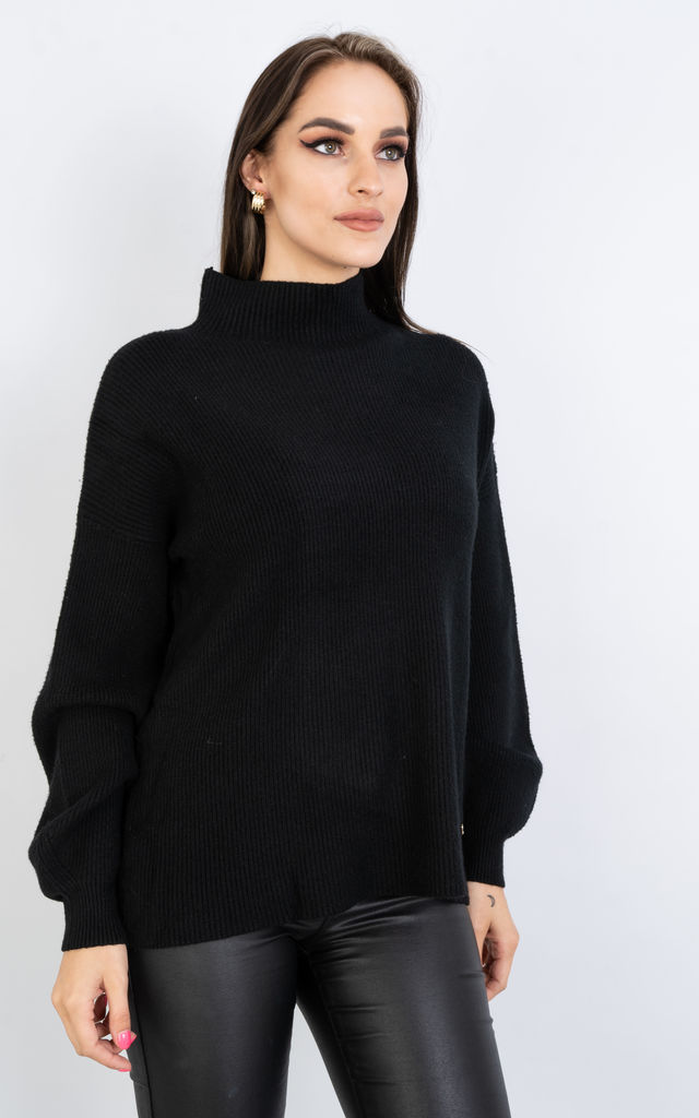 Long Sleeve Polo Neck Jumper w/ Heart Decoration by Lucy Sparks