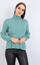 Long Sleeve Polo Neck Jumper w/ Heart Decoration (GREEN) by Lucy Sparks