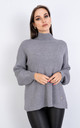 Long Sleeve Polo Neck Jumper w/ Heart Decoration (GREY) by Lucy Sparks
