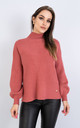 Long Sleeve Polo Neck Jumper w/ Heart Decoration (RED) by Lucy Sparks