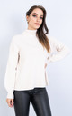 Long Sleeve Polo Neck Jumper w/ Heart Decoration (WHITE) by Lucy Sparks