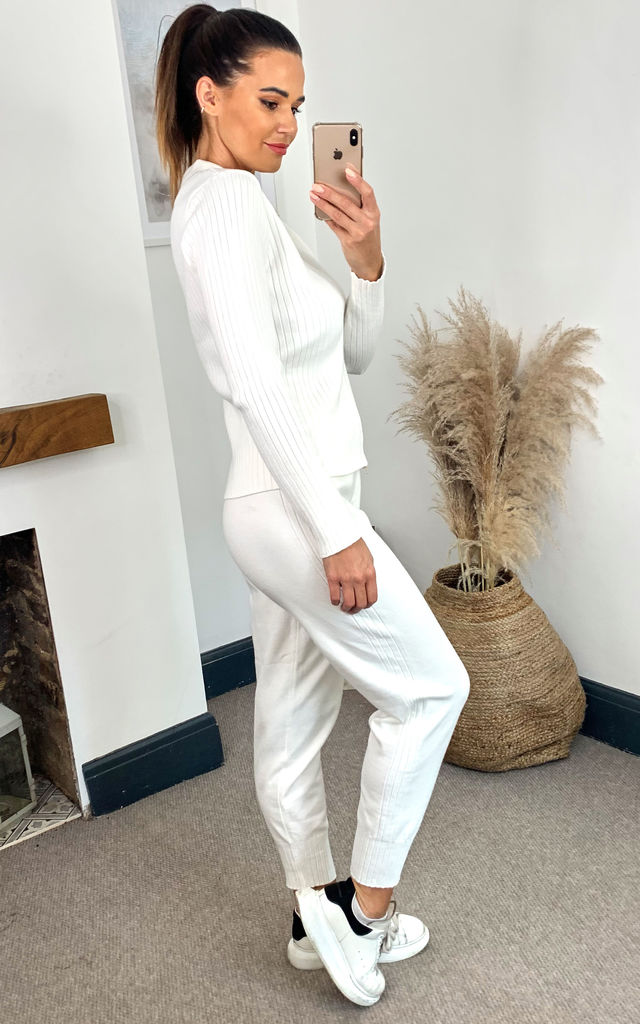 Knit Polo Zip Long Sleeve Lounge Wear Set in White by Emily & Me