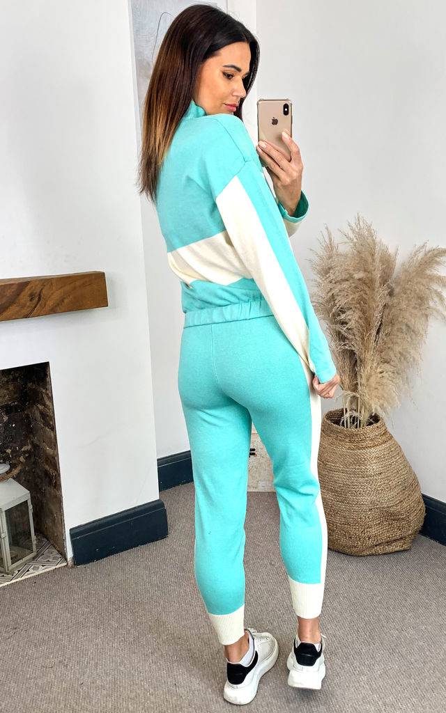 Knit Zip Long sleeve Color Block Tracksuit Set in Green by Emily & Me