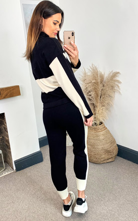 Knit Zip Long sleeve Color Block Tracksuit Set in Black by Emily & Me