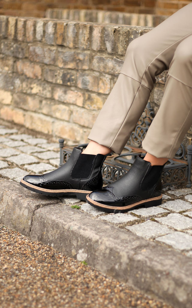 Skill Black Nappa & Patent Brogue Style Chelsea Boot With Brown Rand Detail by Linzi