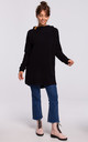 Black Long Textured Hoodie with Rounded Hem at the Back by MOE