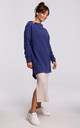 Indigo Long Textured Hoodie with Rounded Hem at the Back by MOE