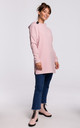 Pink Long Textured Hoodie with Rounded Hem at the Back by MOE