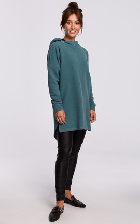 Green Long Textured Hoodie with Rounded Hem at the Back by MOE