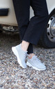 So Fine Grey Flyknit Trainer With Lace Up Detail & Chunky White Rubber Sole by Linzi