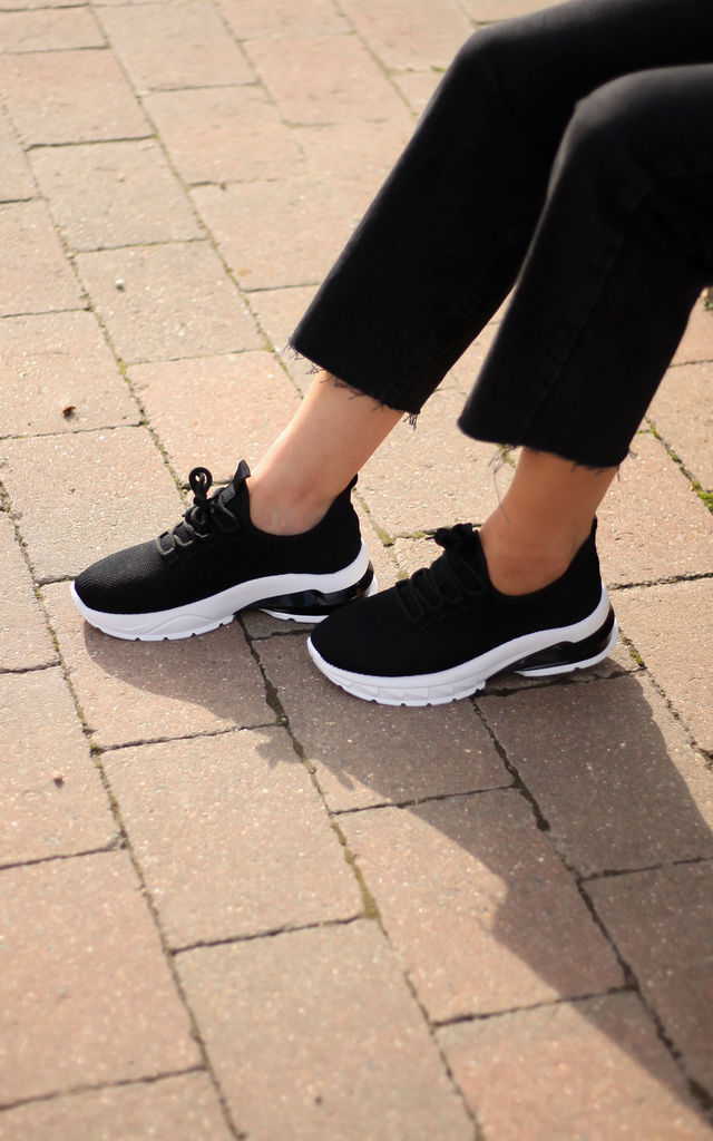 Impress Black Flyknit Trainer White Chunky Sole by Linzi