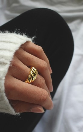 18k Gold Plated Baguette Dome Ring by HAUS OF DECK