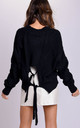 Oversized Chunky Tie Back Cable Knitted Jumper Black by LILY LULU FASHION