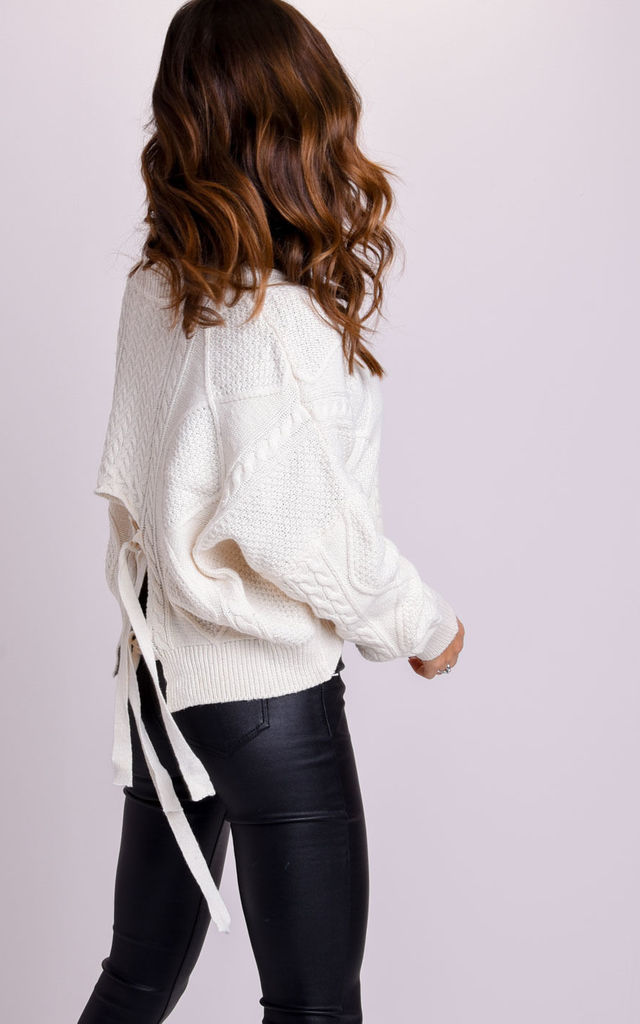 Oversized Chunky Tie Back Cable Knitted Jumper Beige by LILY LULU FASHION