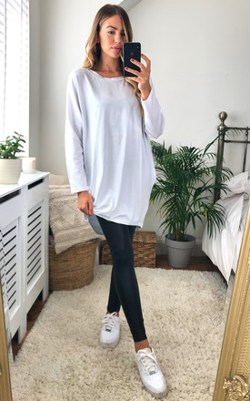 Oversize Long Sleeve Tunic in White with Pockets by KURT MULLER