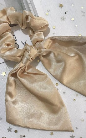 Satin Oversized Ruched Bow Scrunchie Hair Tie Beige by LILY LULU FASHION