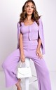 Three Piece Ribbed Crop Cardigan Tank Top and Trousers Co-Ord Set Purple by LILY LULU FASHION
