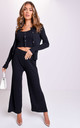 Three Piece Ribbed Crop Cardigan Tank Top and Trousers Co-Ord Set Black by LILY LULU FASHION