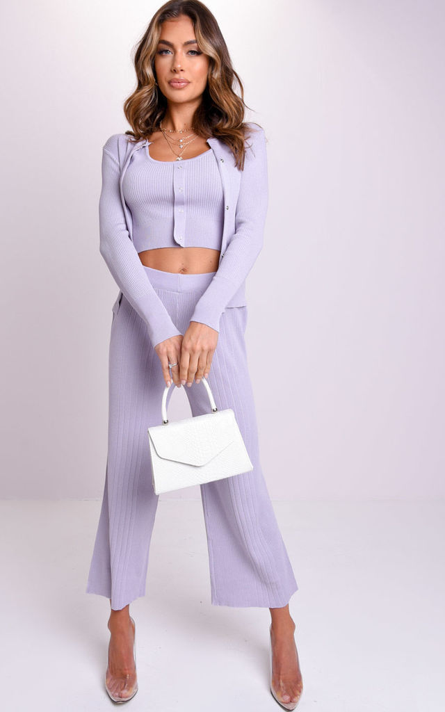Three Piece Ribbed Crop Cardigan Tank Top and Trousers Co-Ord Set Blue by LILY LULU FASHION