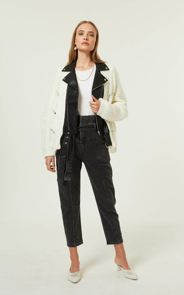 Westin Jacket Leather Knit White by Jovonna London