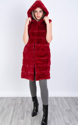 Hooded Ultra Soft Faux Fut Gilet in Red by LOES House