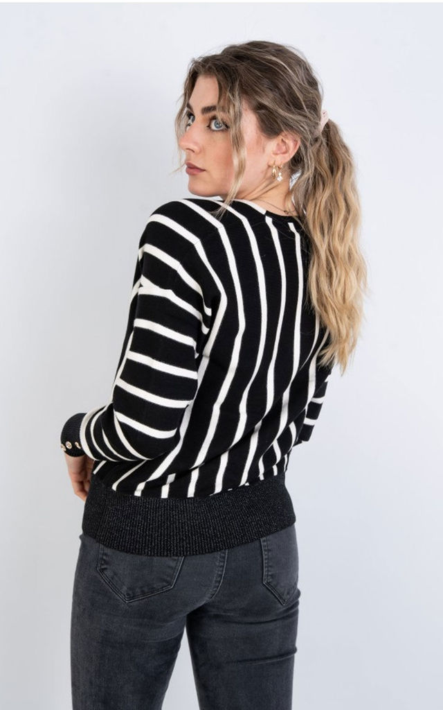 V Neck Stripe Jumper In Black by LOES House