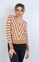 V Neck Stripe Jumper In Camel by LOES House