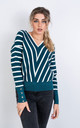 V Neck Stripe Jumper In Teal by LOES House