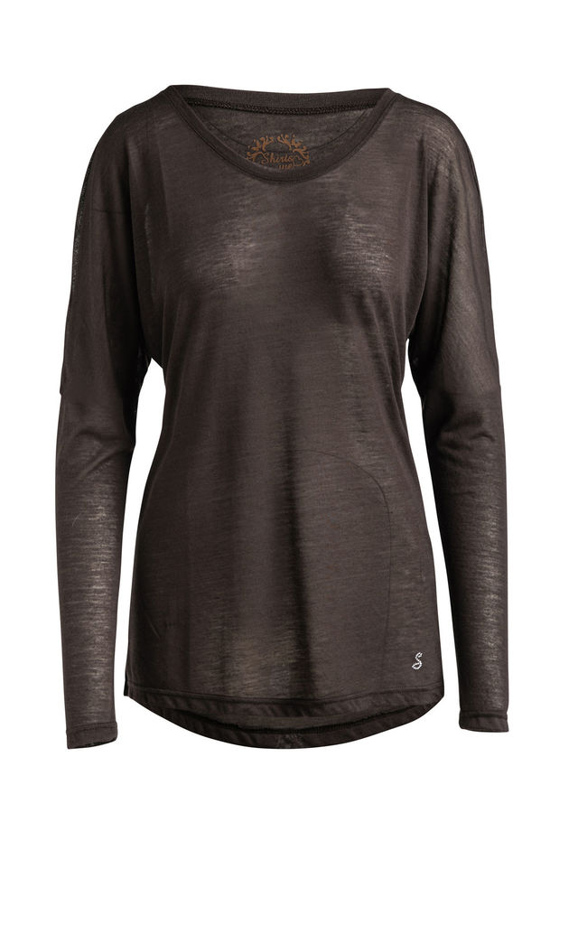 Brown Knit Top with Long Batwing Sleeves by Conquista Fashion