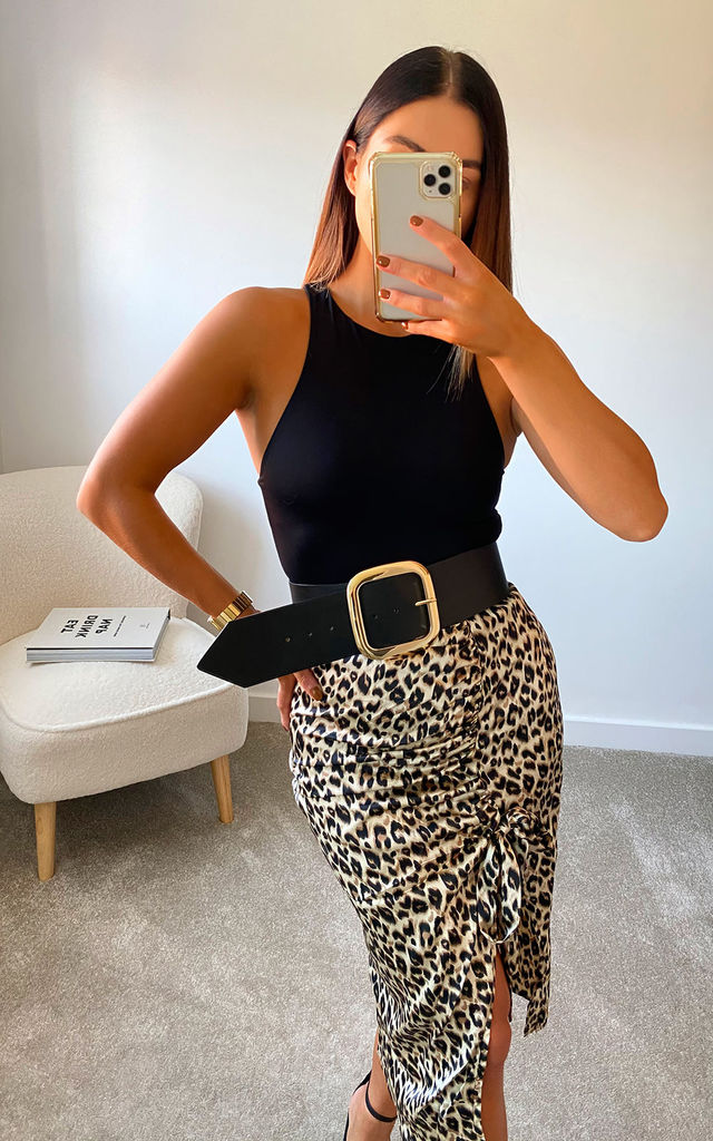 Jasmine Printed Midi Skirt in Leopard by IKRUSH