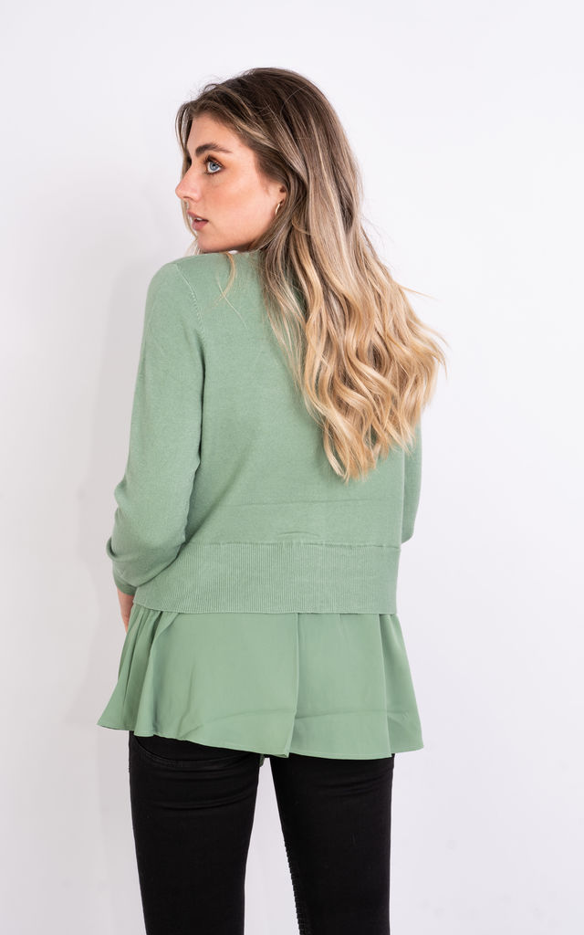 Long Sleeve Mesh Layered Jumper (GREEN) by Lucy Sparks